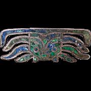 Vintage Los Castillo Mexican Sterling Mosaico Azteca Azurmalachite Face Pin