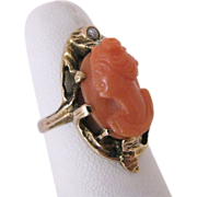 Victorian 14K Gold Natural Genuine Coral Cameo And Diamond Ring