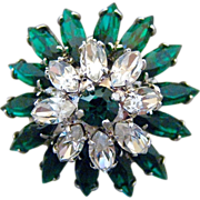Vintage Napier Green And Clear Rhinestone Cocktail Ring