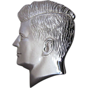 Vintage John F Kennedy Profile Silver Tone Tie Pin