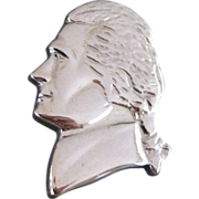 Vintage Thomas Jefferson Profile Silver Tone Tie Pin