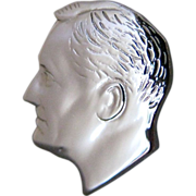 Vintage Franklin Delano Roosevelt Profile Silver Tone Tie Pin