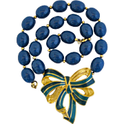Vintage Trifari Enamel Bow and Lucite Choker Necklace