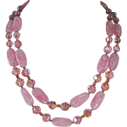 Vintage Trifari Double Strand Pink Venetian Glass And Crystal Necklace