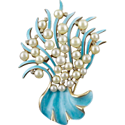Vintage Trifari Blue Enamel and Pearl Abstract Underwater Fauna Pin