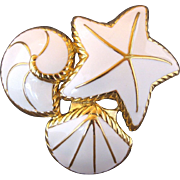 Vintage Trifari White Enamel Sea Shells Pin