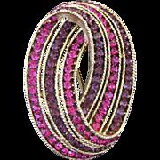 Vintage Trifari Cavalcade Purple And Pink Fuchsia Rhinestone Pin