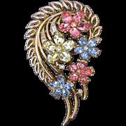 Vintage Trifari Fragonard Pastel Rhinestone Flower Pin