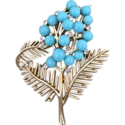 Vintage Trifari Turquoise Lucite And Rhinestone Abstract Floral Pin