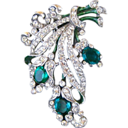 Vintage Trifari Green Crystal And Rhinestone Floral Bouquet Fur Clip Designed By Alfred ...