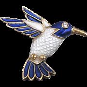 SALE Vintage Trifari Blue And White Enamel Hummingbird Pin