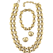 Vintage Trifari Locarno Brushed Gold Tone Bead Necklace Bracelet Earring Parure Set