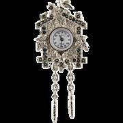 Vintage Futura Ladies Cuckoo Clock Quartz Watch Pendant or Pin