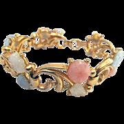 Pretty Vintage Lisner Molded Glass Pink, Blue, and White Flower Bracelet