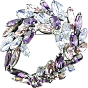 Vintage Austrian Crystal Brooch in Alexandrite Blue and Purple by Canadian Designer Sherman