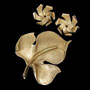 Vintage Crown Trifari Brushed Gold-Tone Leaf Brooch and Earring Set