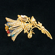 Coro Gold Plated Pot Metal Floral Brooch with Glass Stamens