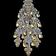 Large Early Norwegian Solje Crown and Spoon Silver Wedding Pin