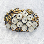 Vintage Glass and Crystal Shoe-button Floral Brooch