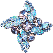 Vintage Juliana Brooch With Specialty Blue Lava Glass Stones