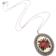 Vintage Petit Point Necklace With Red Rose