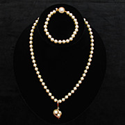 Elegant Richelieu Faux Pearl and Rhinestone Necklace and Bracelet Set