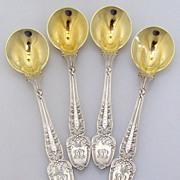 Tiffany & Co Broom Corn 6 Large Old Style Ice Cream Spoons 1890