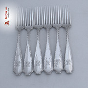 Tiffany And Co Marquise Set of 6 Forks Sterling Silver 1902