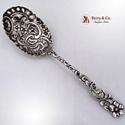 Open Work Ornate Serving Spoon FloralSterling Silver Duhme 1890