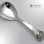 Scandinavian Design Large Ornate Serving Spoon Danish Sterling Silver Shell Decorations 1933