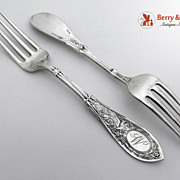 Arabesque Two Dinner Forks Sterling Silver Whiting 1875