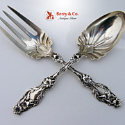 Lily Salad Serving Set Whiting Sterling Silver 1902