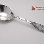 Serving Spoon Sterling Silver Bright Cut Whiting