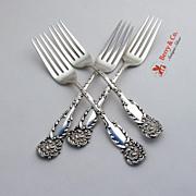 Le Reine Dessert Forks 4 Reed Barton Sterling Silver 1893 No Monograms