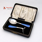 SALE PENDING Baby Spoon Pusher Boxed Set Enamel Sterling Silver 1927 No Monograms