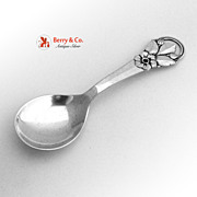 A Prip Tea Caddy Spoon Wild Rose Danish Sterling Silver 1950