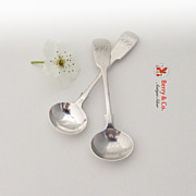 Early Victorian 2 Master Salt Spoons Sterling Silver 1841