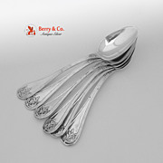 Spanish Colonial Silver Oval Soup Spoons 6 Engraved Alexander King