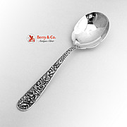 Repousse Berry Salad Spoon Scalloped Bowl Sterling Silver Kirk
