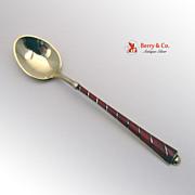 Sterling Silver Gilt Red Enamel Demitasse Spoon Ela Denmark