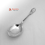 SOLD Gothic Shield Beaded Berry Spoon Twist Handle Coin Silver 1860 Ava