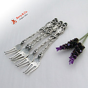 SALE PENDING Lily  5 Cocktail Forks Sterling Silver Whiting 1902