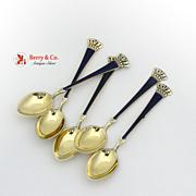Danish Crown Demitasse Spoons 5 Purple Enamel Sterling Silver 1950