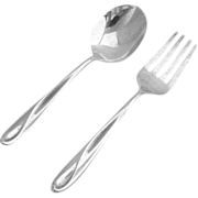 Silver Sculpture Baby Flatware Set Spoon Fork Sterling Silver Reed and Barton 1954