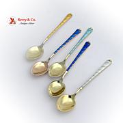 SALE PENDING Enamel 5 Demitasse Spoons Sterling Silver Ela