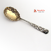 Ornate Small Serving Spoon Repousse Decorated Handle Bowl Sterling Silver 1900