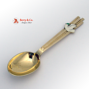 SALE Christmas Spoon 1943 Michelsen Gilt Enamel Sterling Silver