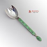 SOLD Medium Serving Fork Sterling Silver Green Enamel Tostrup