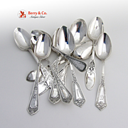 Miscellaneous Antique Aesthetic Tea Spoons Sterling Silver 12 Pieces