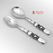 Georg Jensen Scroll aka Saga Salad Serving Set Fork Spoon Dutch Sterling Silver 1927